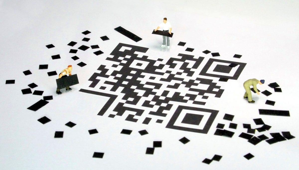 Stylized QR code.