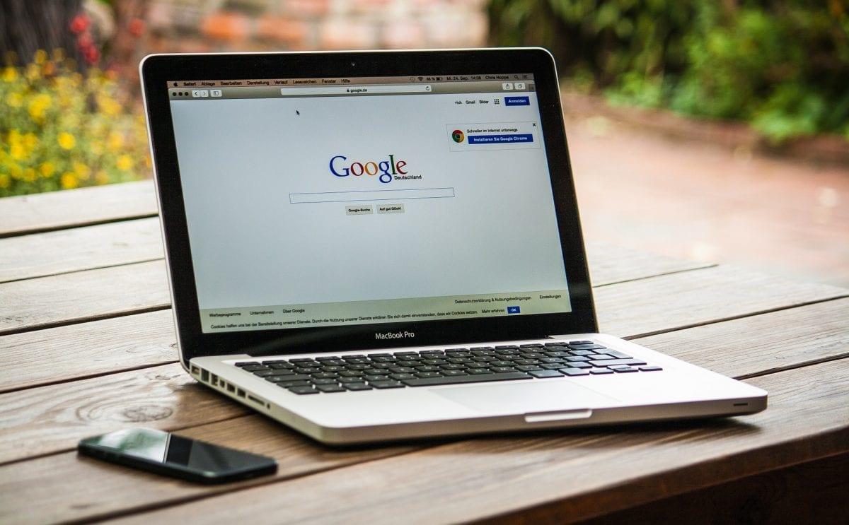 Google search screen on a Mac laptop.