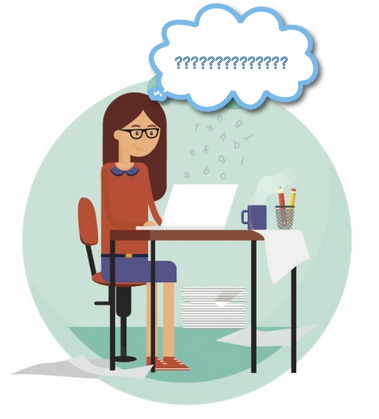 Cartoon of woman sitting at laptop with question marks over her head.