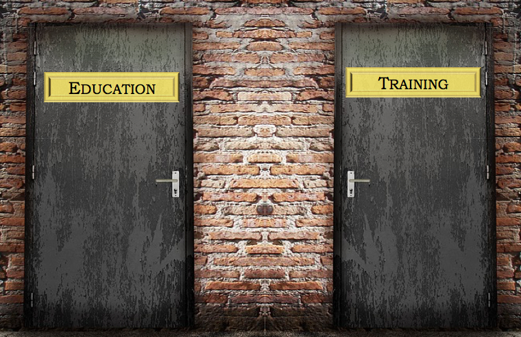 two door one says education the other says training